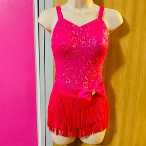 Beautiful hot pink sequins dance costume